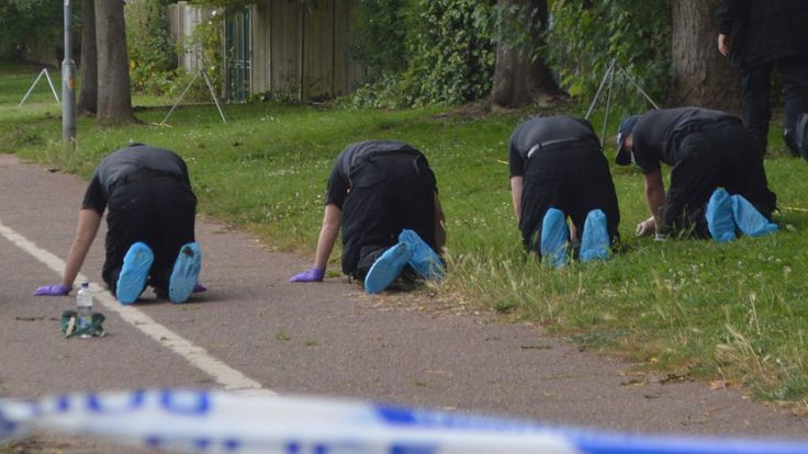 Police search a crime scene at Salary Brook Trail in Colchester, Essex
