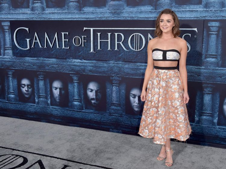 "Actress Maisie Williams attends the premiere of HBO's ""Game Of Thrones"" Season 6"
