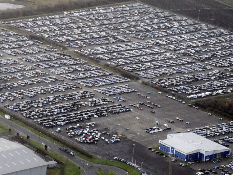 File photo of new Nissan cars parked outside the company's Sunderland plant in northern England