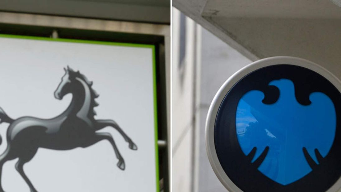 Lloyds and Barclays bank signs