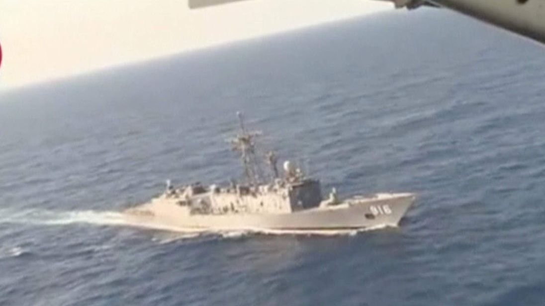 An Egyptian military search boat takes part in a search operation for the EgyptAir plane that disappeared in the Mediterranean Sea