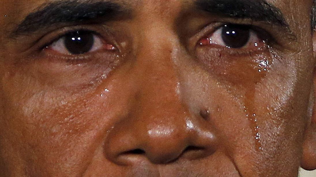 U.S. President Barack Obama is seen in tears while delivering a statement on steps the administration is taking to reduce gun violence in the East Room of the White House in Washington