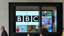 BBC screens in central London