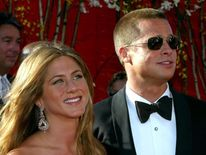 Jennifer Aniston and Brad Pitt at the Emmy Awards in Los Angeles in 2004
