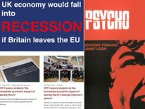 Treasury's Brexit recession warning and Psycho book cover