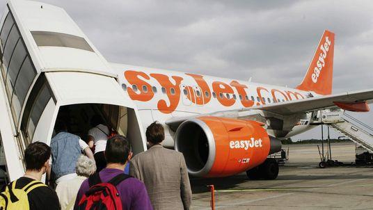 Passenger board an easyJet plane
