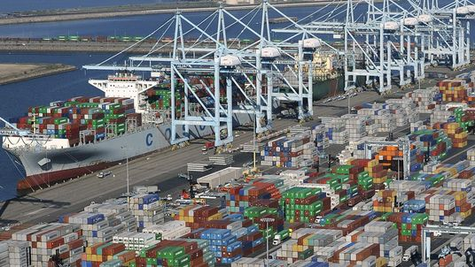 Shipping containers sit idle at the ports of Los Angeles and Long Beach