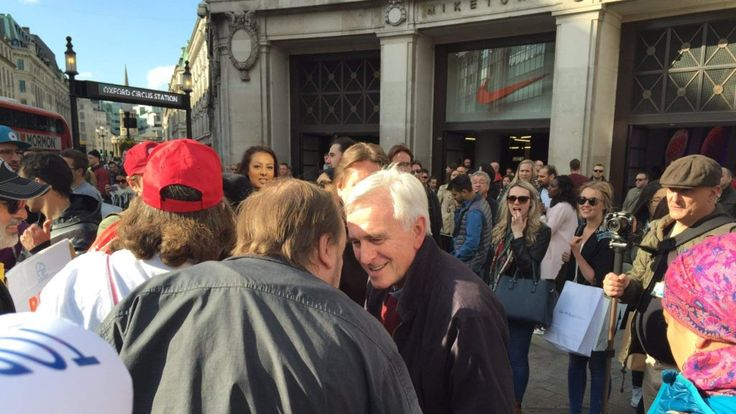 John McDonnell is among those protesting outside Topshop. Pic: UVW
