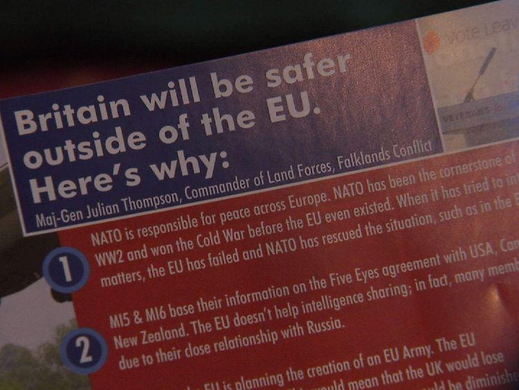 Veterans for Britain EU referendum Brexit leaflet
