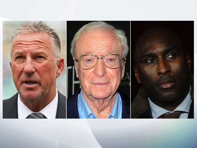 (L-R) Ian Botham, Michael Caine and Sol Campbell