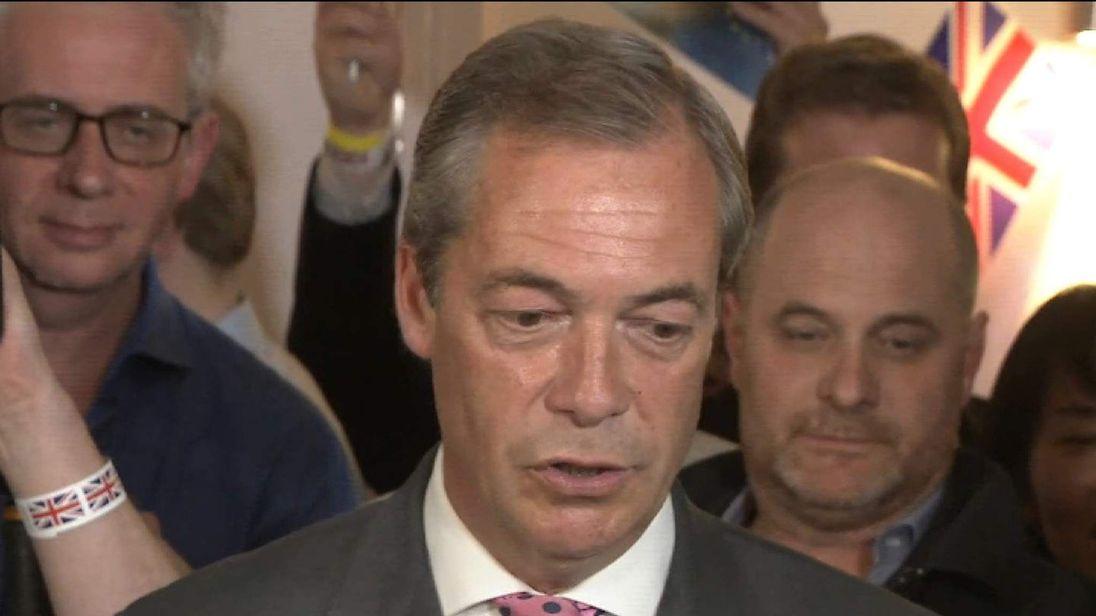 UKIP Leader Talks To Cameras At Beginning Of EU Results Evening