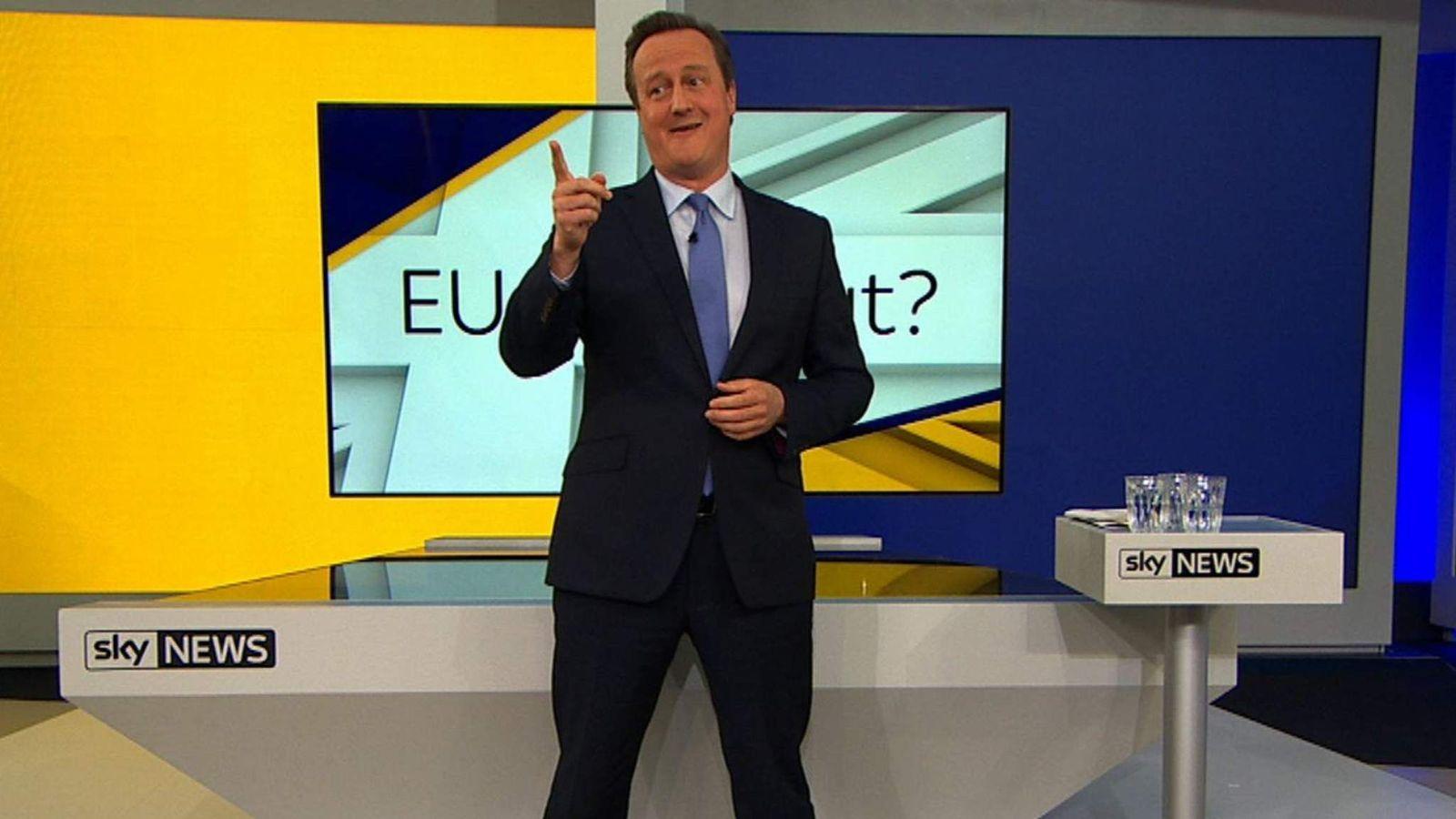 David Cameron addresses a question about the EU referendum