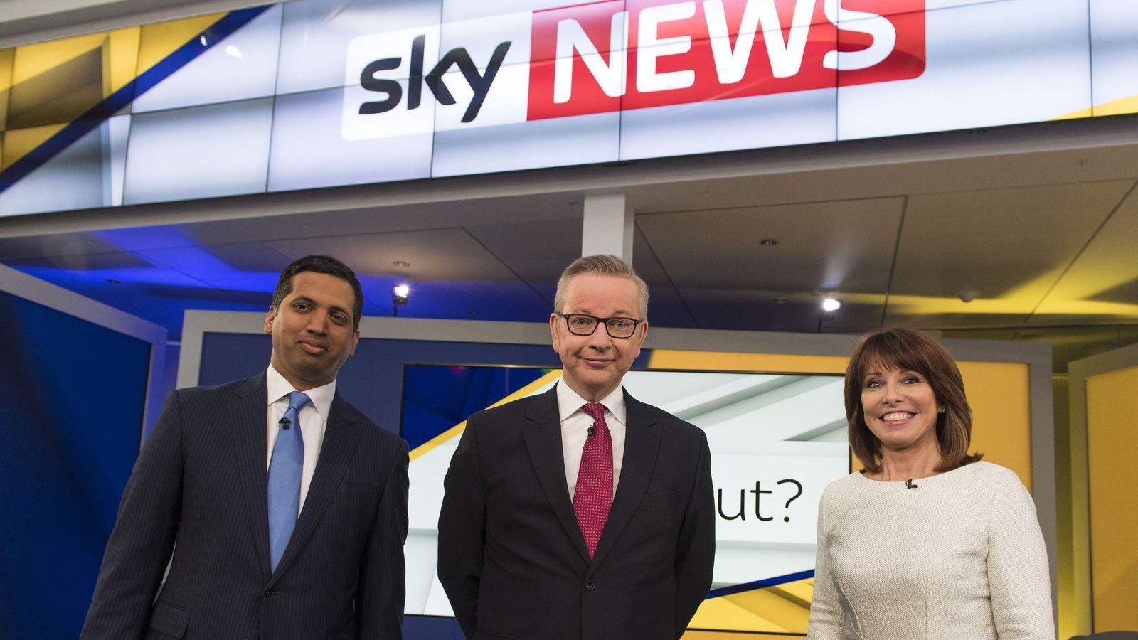 Michael Gove with Faisal Islam and Kay Burley on EU vote set Credit: Sky News/Chris Lobina