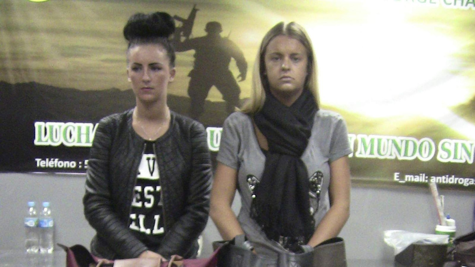 Belfast resident Michaella McCollum Connolly (L) and British citizen Melissa Reid, are seen at the airport in Lima, in this Peruvian National Police handout taken on August 6, 2013, in Lima