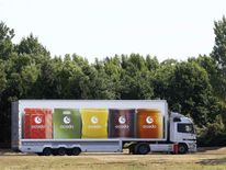 An Ocado leaves the Ocado depot in Hatfield, southern England