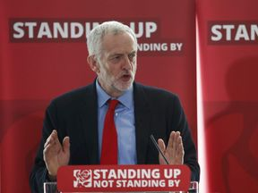 The leader of Britain's opposition Labour party, Jeremy Corbyn, speaks at an event into antisemitism within the Labour party, in London