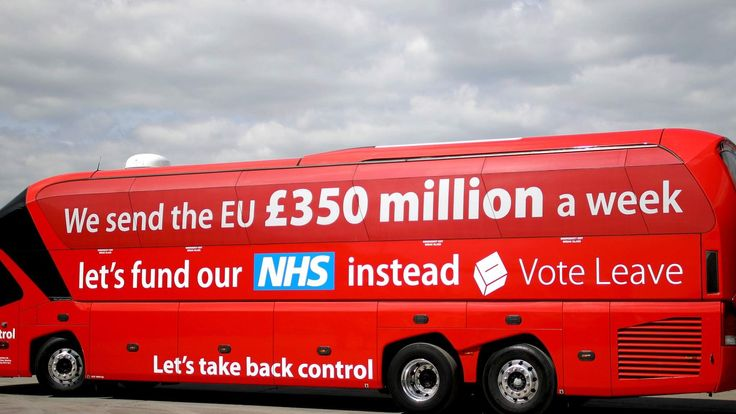 The Vote Leave campaign bus in Staffordshire