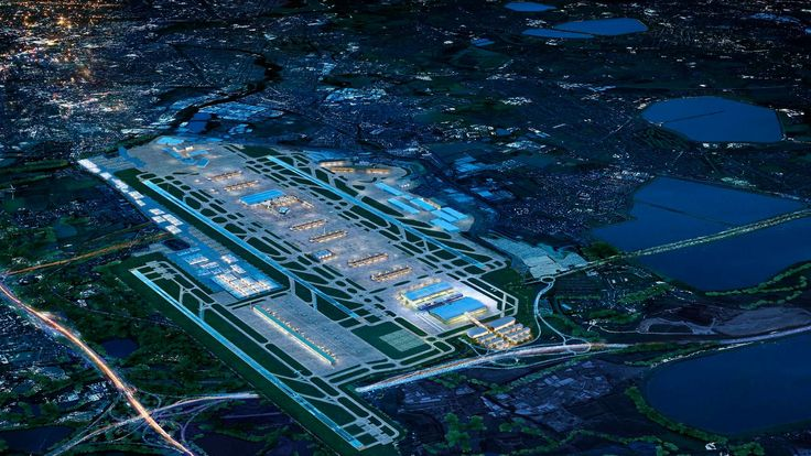 Artist's impression of the Heathrow Airport with a third runway as seen at night
