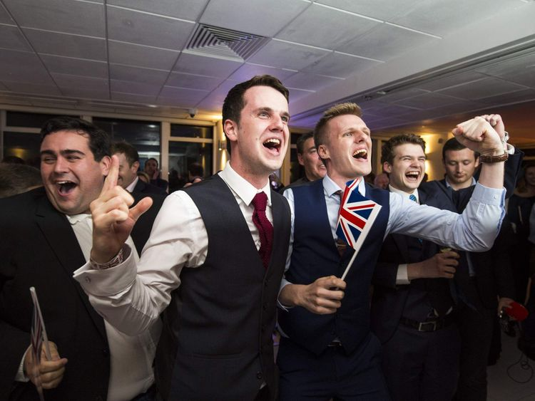 Supporters of the Leave campaign celebrate after the referendum result in June 2016