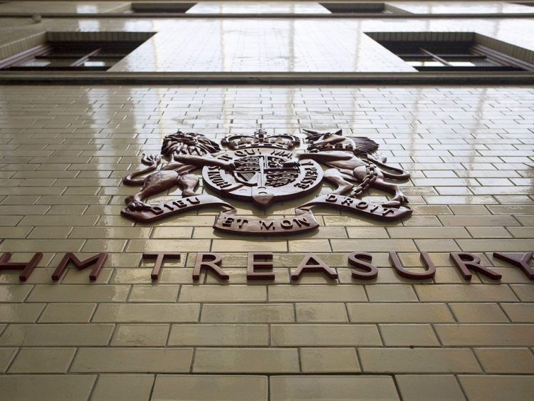 A shield of arms adorns a wall inside the Treasury in central London