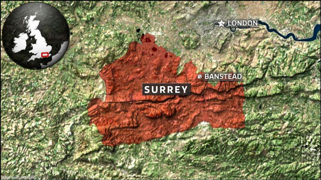 Map of Banstead in Surrey.
