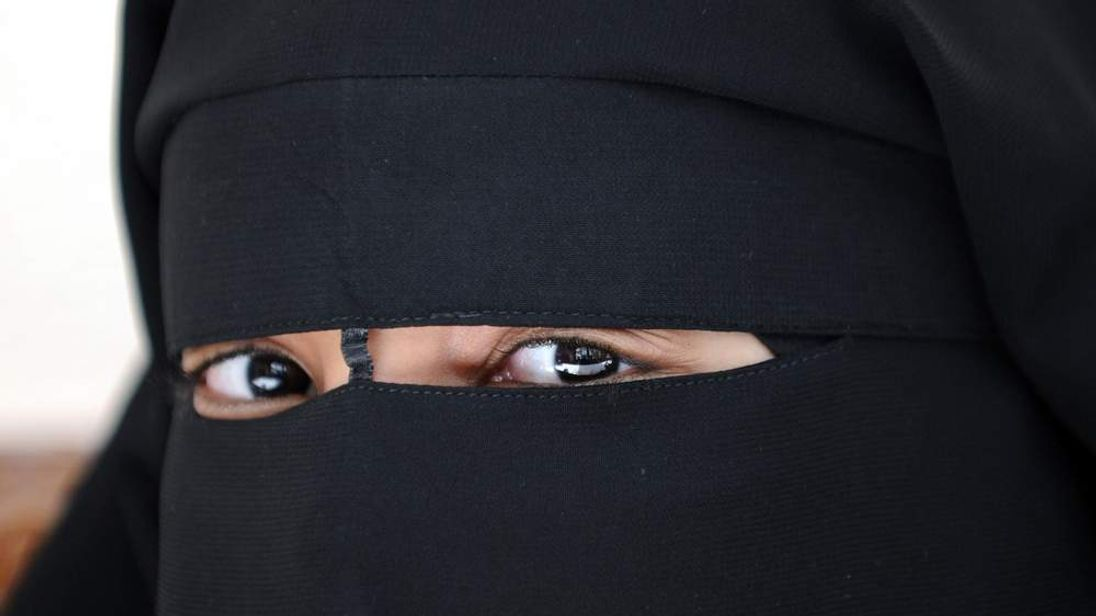 A Muslim woman wearing the niqab