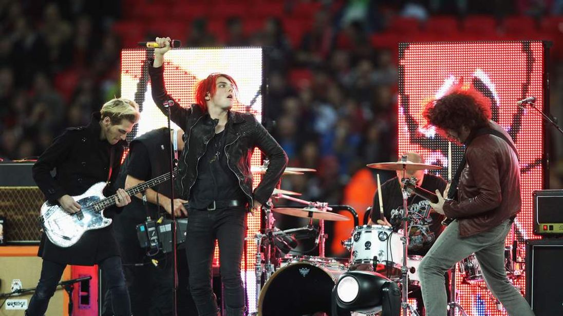 US rock band My Chemical Romance perform during NFL game at Wembley Stadium October 2010