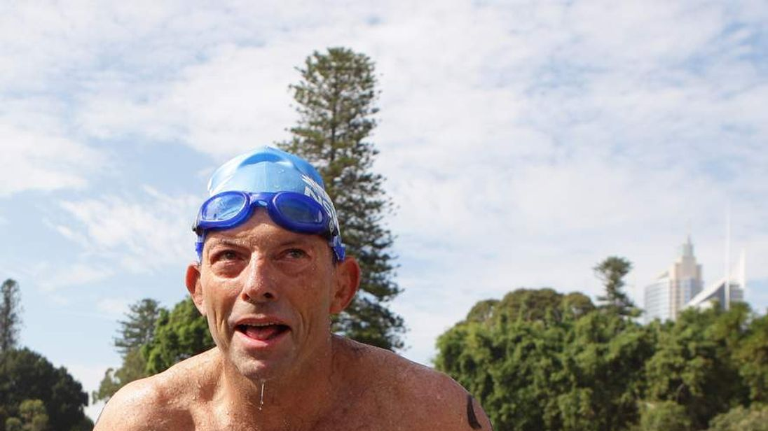 Tony Abbott Swims The Sydney Harbour On Australia Day in 2011
