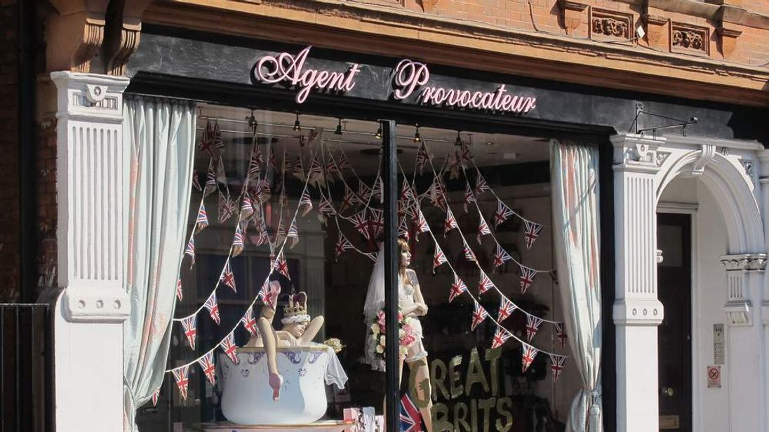 A general view of a royal wedding themed window display at Agent Provocateur in 2011