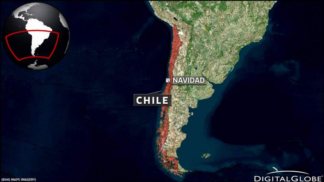 A map of Navidad in Chile.