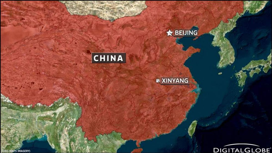 Map of China showing Beijing and Xinyang for school attack