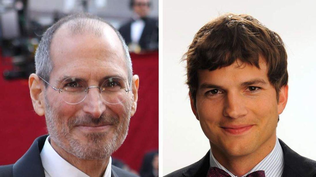Steve Jobs (L) and Ashton Kutcher