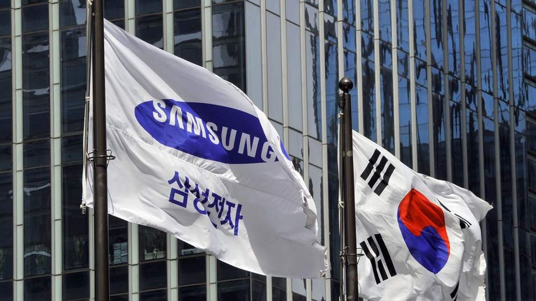 Samsung Electronics flag (L) and South K