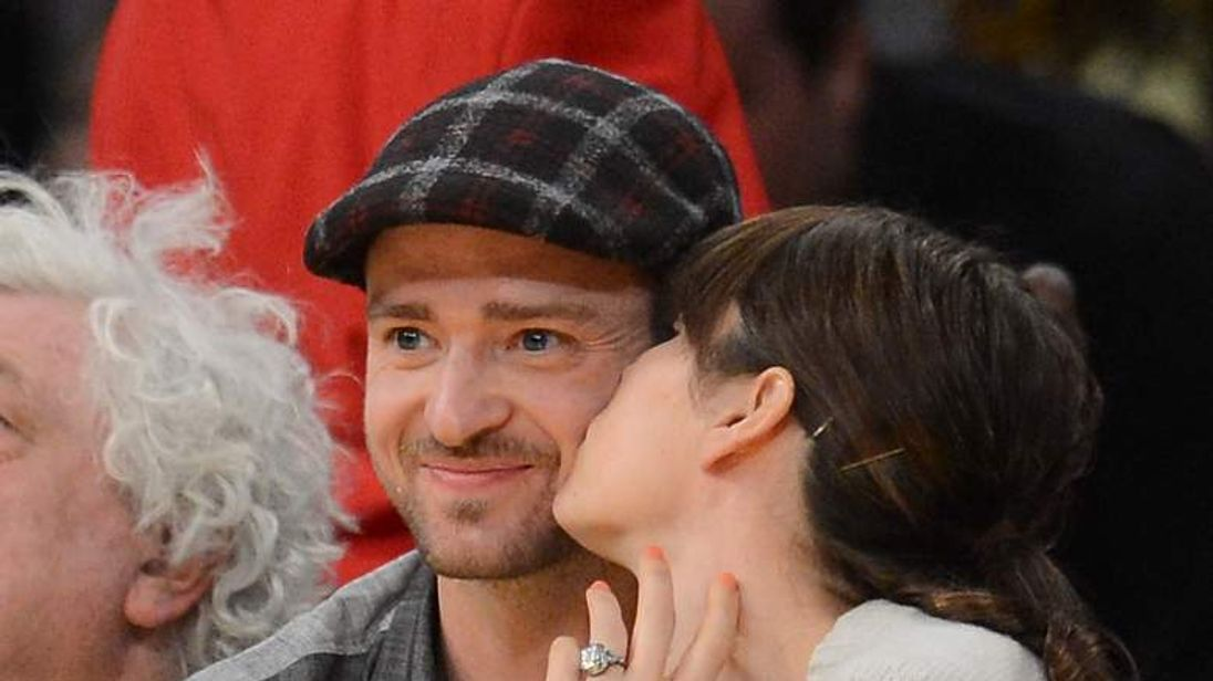 Justin Timberlake and Jessica Biel at the NBA playoffs