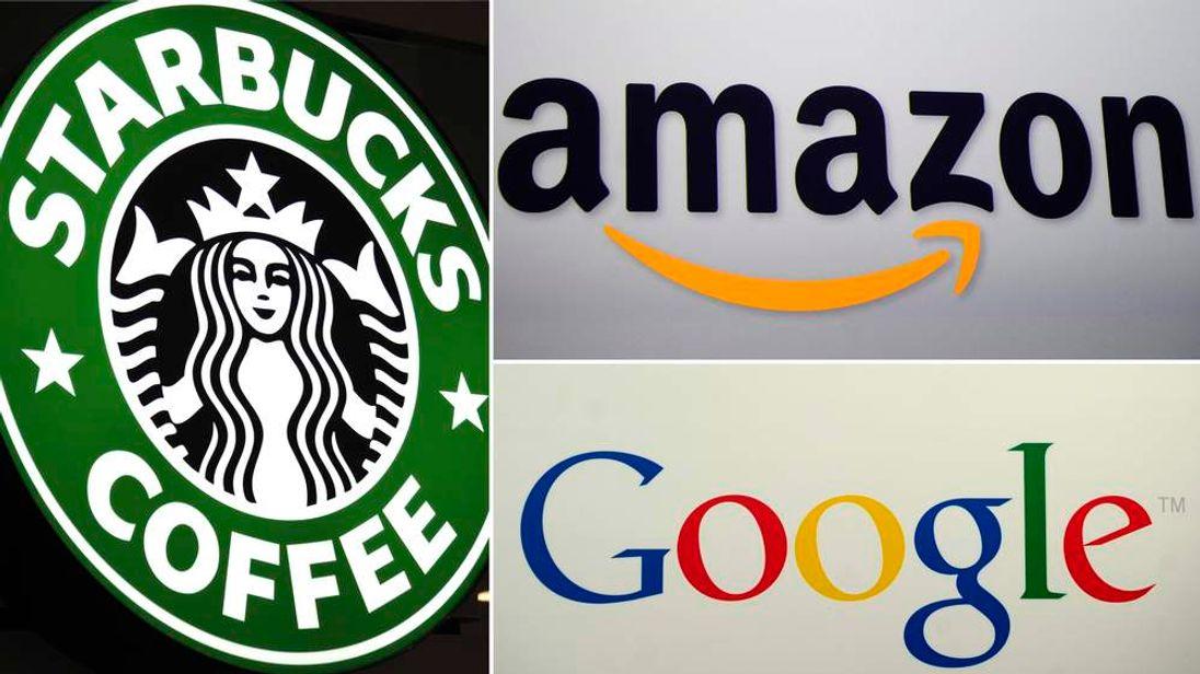 Starbucks, Amazon and Google logos