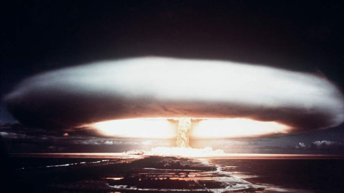 A file picture taken in 1971 shows a French nuclear test in the south Pacific atoll of Mururoa.