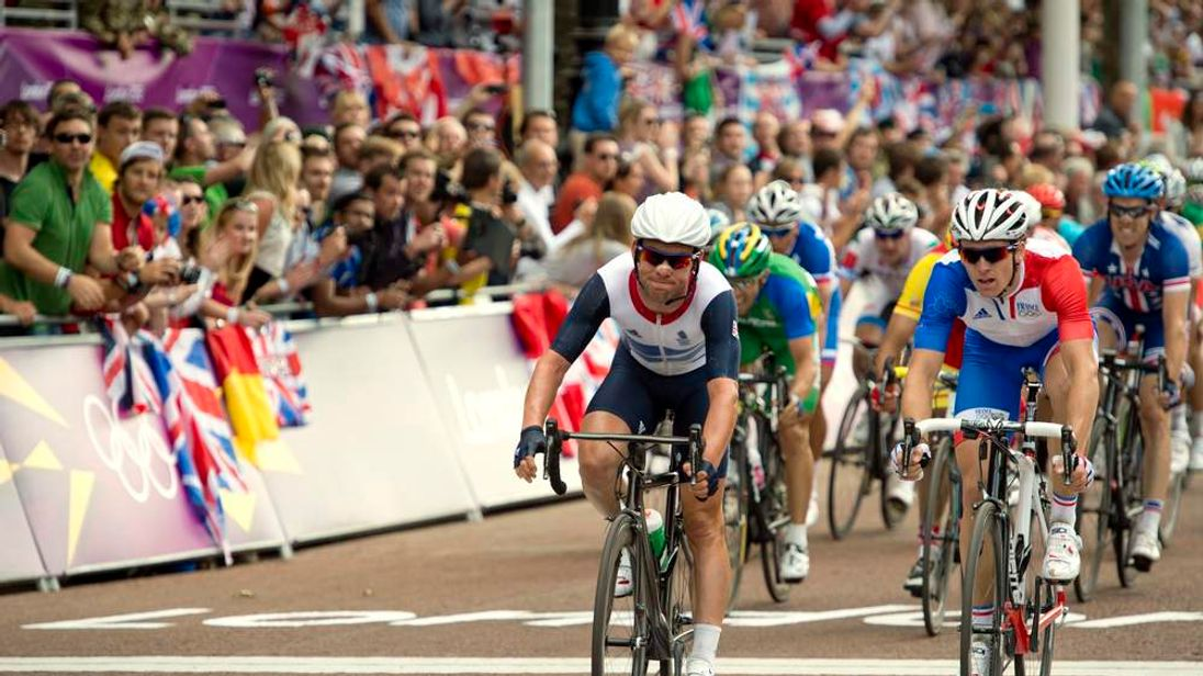 Team GB's Mark Cavendish finishes the London 2012 cycling road race