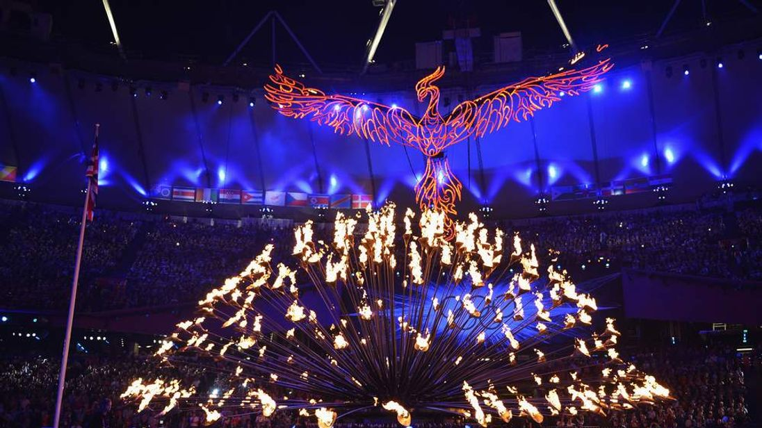 The Olympic cauldron is extinguished during the Closing Ceremony on Day 16 of the London 2012 Olympic Games