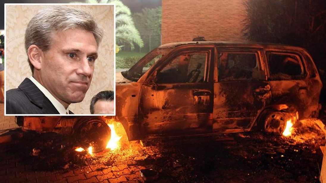 A vehicle sits smoldering in flames after being set on fire inside the US consulate compound in Benghazi late on September 11, 2012.