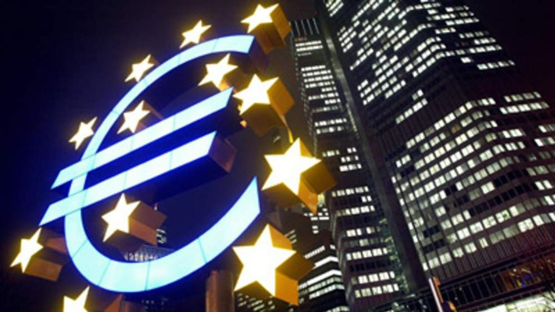 Euro sculpture in front of the European Central Bank Eurozone Euro symbol generic