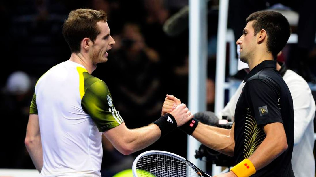 Andy Murray (L) and Novak Djokovic