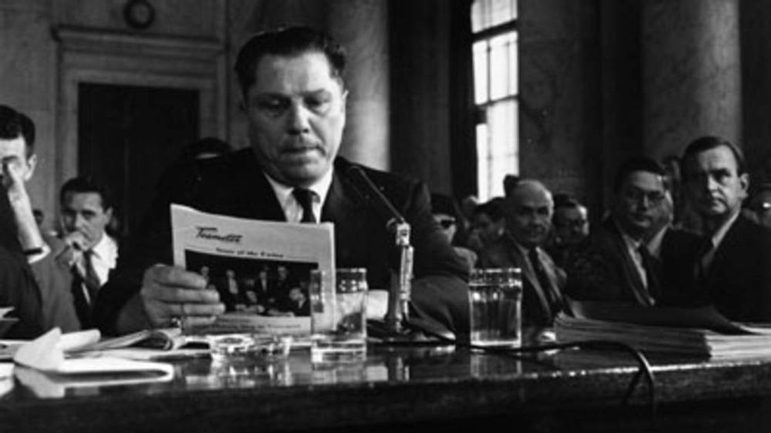 Teamsters President Jimmy Hoffa Testifying At A 1958 Hearing Into Labour Rackets