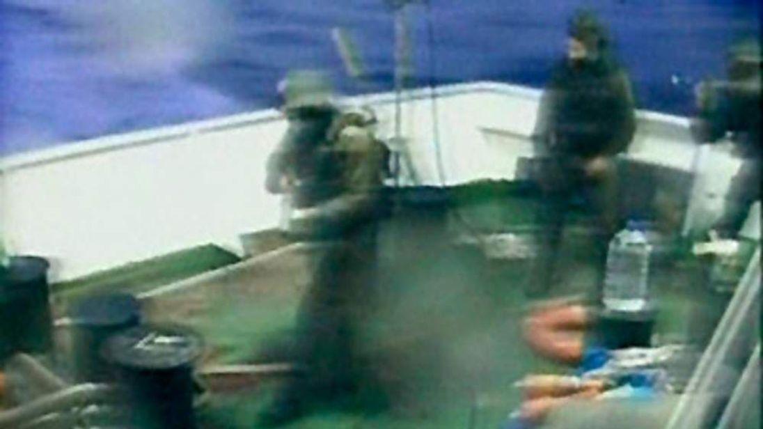 Israeli commandos on a Gaza-bound ship in the Mediterranean Sea