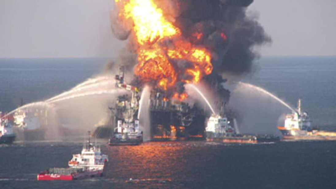 The Deepwater Horizon oil rig blazes