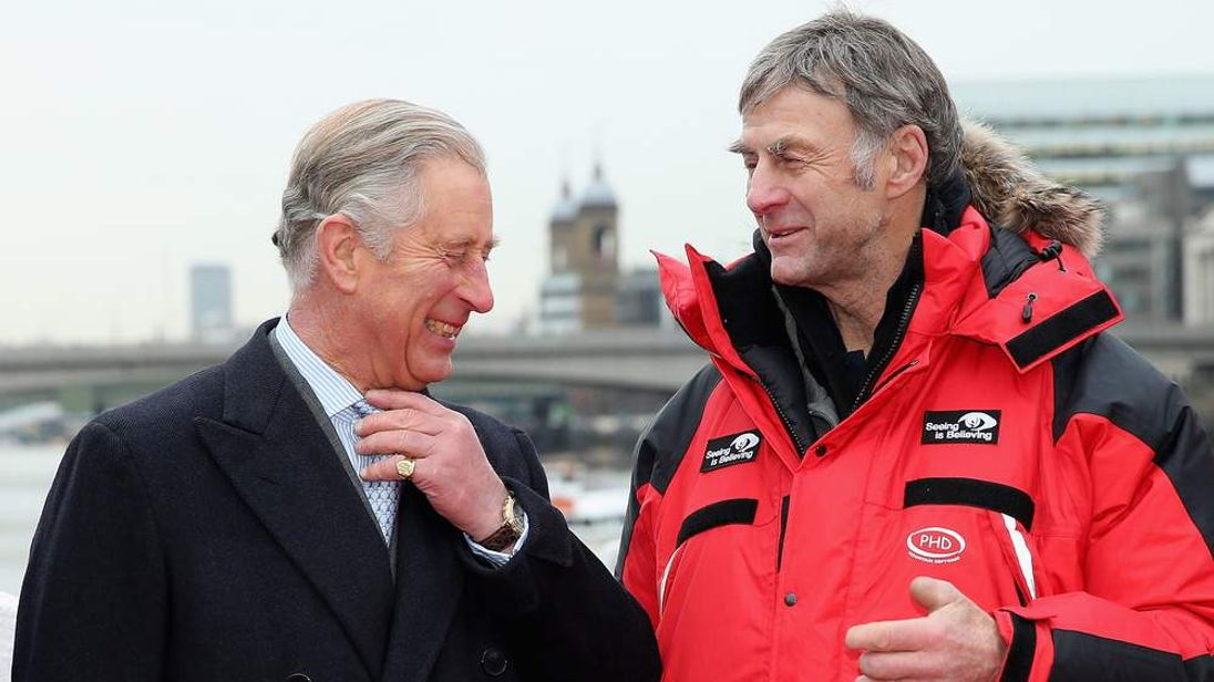 Sir Ranulph Fiennes (R) and Prince Charles