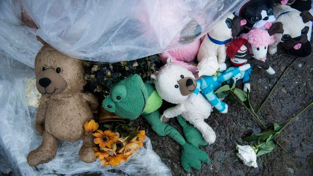 Toys left at a roadside memorial in Newtown, Connecticut