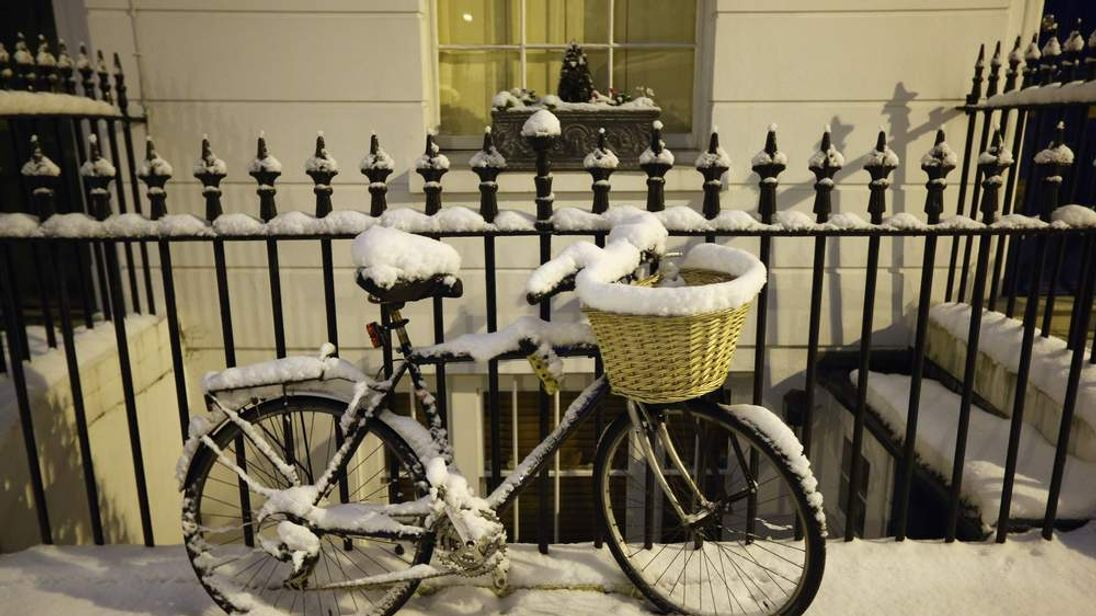 Andrew Mitchell's bike in the snow