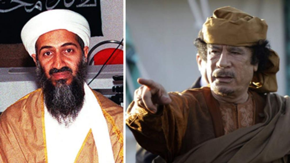 Libyan leader Gaddafi was behind an arrest warrant issued for Osama bin Laden in 1998.