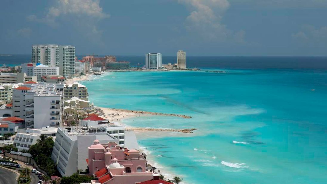 A general view of Cancun and the city's beach