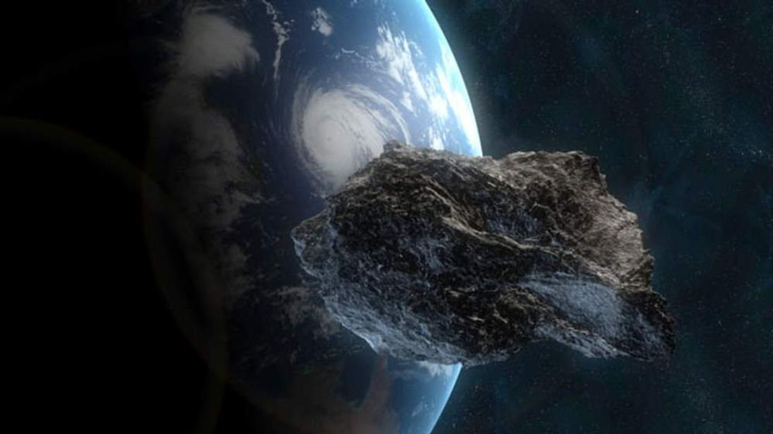 graphic of an asteroid passing earth